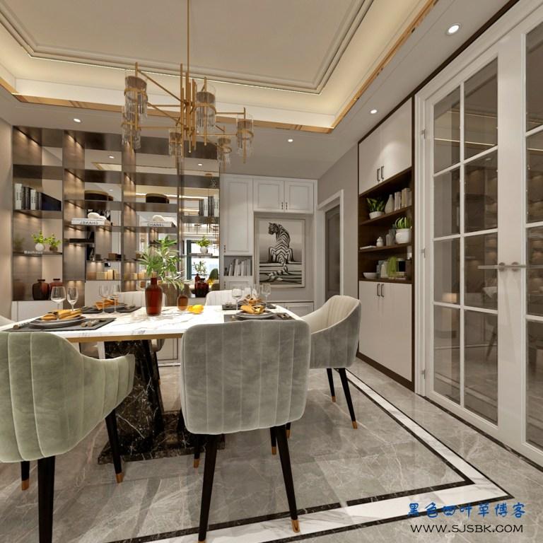 现代轻奢主题—客餐厅设计-第3张图片-赵波设计师_云南昆明室内设计师_黑色四叶草博客
